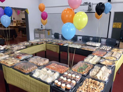 graduation,buffet,chesterfield,college,derbyshire